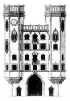 Sketch of the facade of house 75, Bolshoy prospekt, St Petersburg